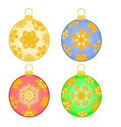 Christmas baubles balls with snowflakes vector