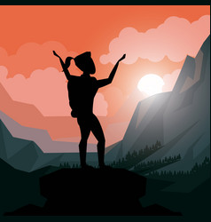 Colorful sunset landscape of climber woman vector