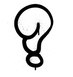 graffiti bubble question mark in black on white vector image