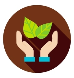 Hands save the planet leaves circle icon vector