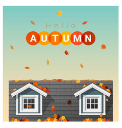 hello autumn background with a small house vector image vector image