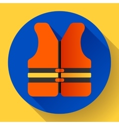 life safety jacket vest icon flat 20 vector image vector image