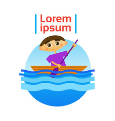 Little boy boating rowing sport training hobby vector
