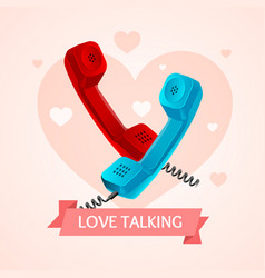 Love talk old phone concept vector