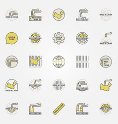 made in china colorful icons vector image