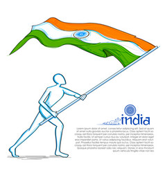 Man hoisting indian flag celebrating independence vector