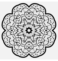 Mandala Round Ornament Pattern in Black Color vector image
