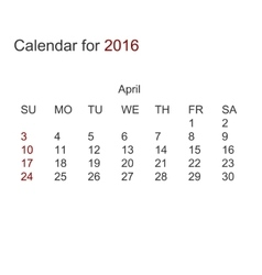 modern calendar for april 2016 vector image