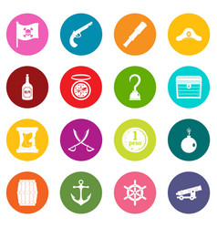Pirate icons many colors set vector