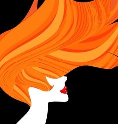 Red-haired head of a woman vector