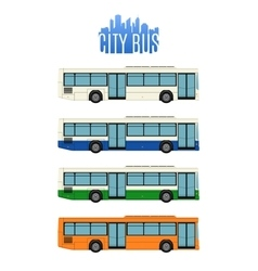 Set of four city bus icons vector