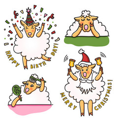 Set of funny sheep with different emotions vector