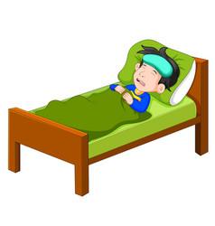 sick kid lying in bed vector image
