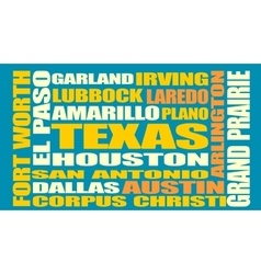 Texas state cities list vector