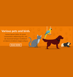 various pets and birds banner horizontal concept vector image