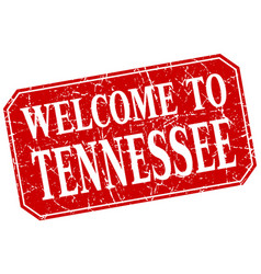 Welcome to tennessee red square grunge stamp vector