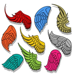 Wings collection set vector image vector image