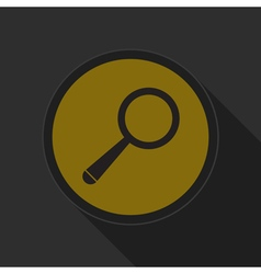 Yellow round button with black magnifier icon vector