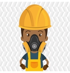Man worker mask gas vector