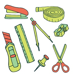 Set of sketch stationery items and school supplies vector