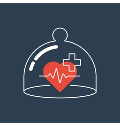 Health care icon heart pulse check up diagnostics vector image