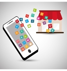smartphone store online social network vector image