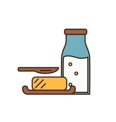 Dairy icon in line style design vector