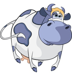 Happy blue cow cartoon vector