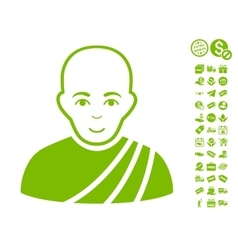 Buddhist monk icon with free bonus vector