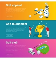 Horizontal golf club banners with golf car course vector