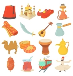 Turkey travel symbols icons set cartoon style vector