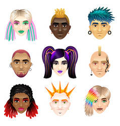 Original youth people faces icons set vector