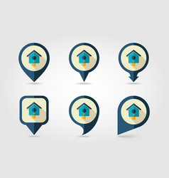 nesting box bird-house flat pin map icon vector image