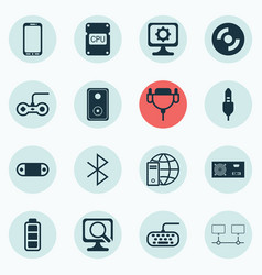 set of 16 computer hardware icons includes audio vector image