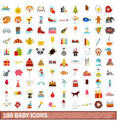 100 baby icons set flat style vector image