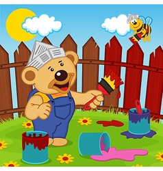 Teddy bear and bee painter vector