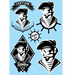 Set template in retro style with pirate vector