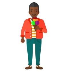 Man holding icecream vector