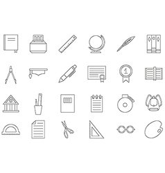 Education black icons set vector