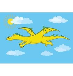 Golden fairy dragon flies in the blue sky vector image