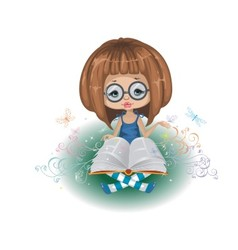 A girl with a book vector image vector image