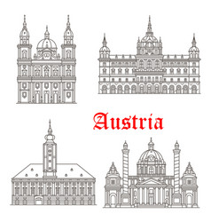 Austria architecture buildings icons vector