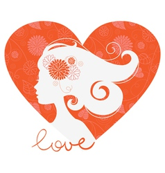 Beautiful girl heart silhouette vector image