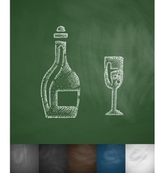 bottle and glass icon Hand drawn vector image