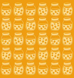 bright seamless pattern with the apricot jam jars vector image