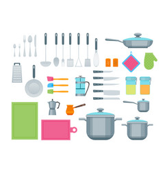 cartoon cookware color icons set vector image vector image