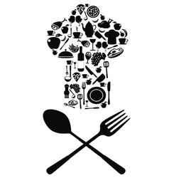 chef symbol with spoon and knife vector image vector image