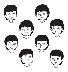 Child face emotion gestures black and white set vector