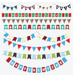 Christmas and new year bunting vector
