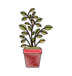 Color crayon stripe silhouette of plant pot vector
